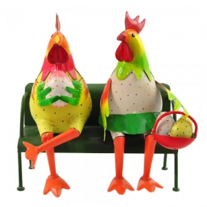 COPPIA GALLO E GALLINA LATTA S/PANCHINA 32X20 H.33 WW